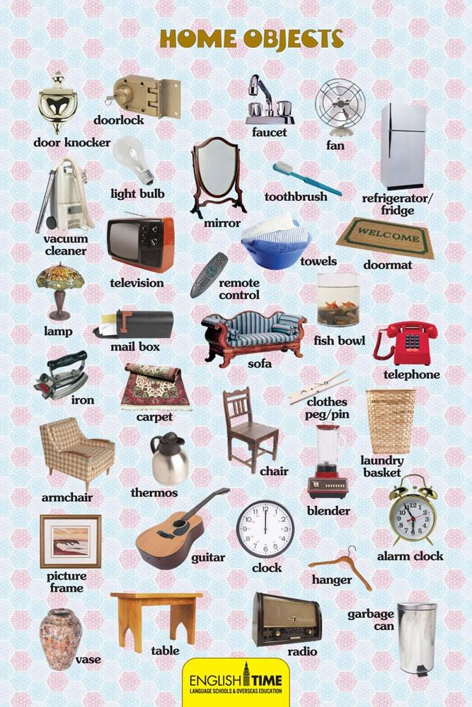ingilizce ev eşyaları resimli